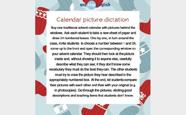 Imaginative materials: ideas for using advent calendars from Onestopenglish.com
